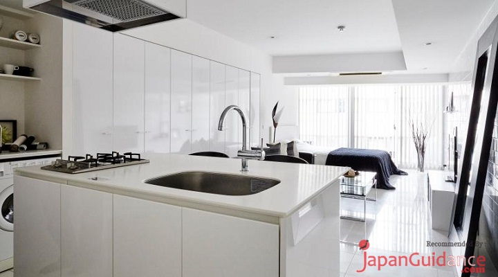Image Photo of Tokyo Vacation Rentals Shibuya - Stylish and Modern Room Shibuya - Minimalist Kitchen Set Pictures